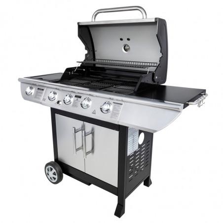 Barbecue gaz avec couvercle de cuisson ouvert