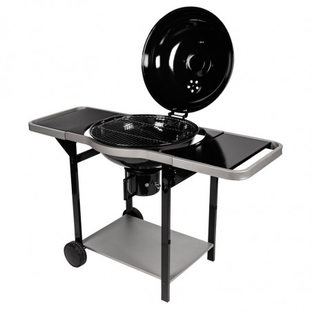 Barbecue charbon de bois avec couvercle de cuisson ouvert