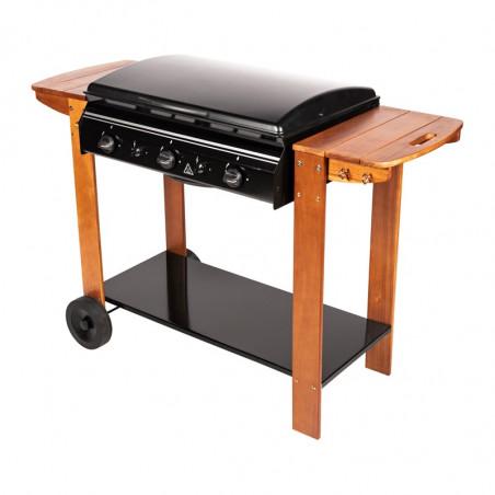 Barbecue gaz sur chariot bois