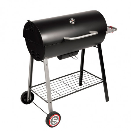 Barbecue charbon de bois avec couvercle de cuisson fermé
