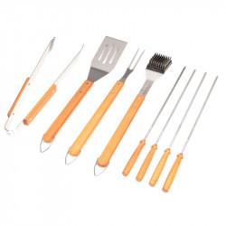 Fourchette, pince, spatule, brosse, 4 brochettes pour barbecue